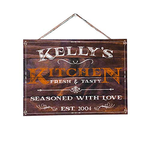 Artblox Personalized Rustic Wood Wall Decor - Kitchen Sign Vintage Home Decor Customized Name and Established Year - Premium Wood Farmhouse Style Wooden Wall Art Country Pallet Plaque - 16x12