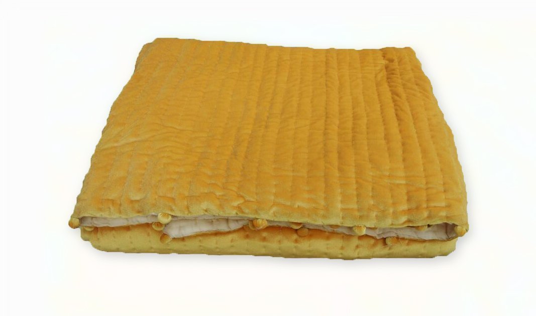 Image of Golden Yellow Velvet Quilt, Customizable Pick Stitch Quilt with Pom Poms Home and Kitchen