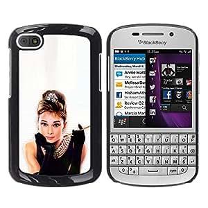 Paccase / SLIM PC / Aliminium Casa Carcasa Funda Case Cover para - Audrey Actress Classic Little Black Dress Sexy - BlackBerry Q10