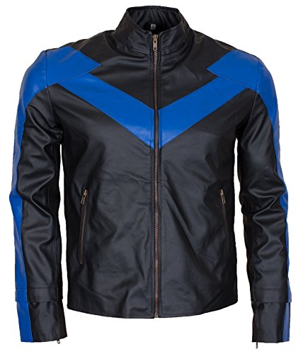 Night The Wing Adult Mens Faux Leather Jacket Costume Blue and Black(M - to fit Chest 42-43)