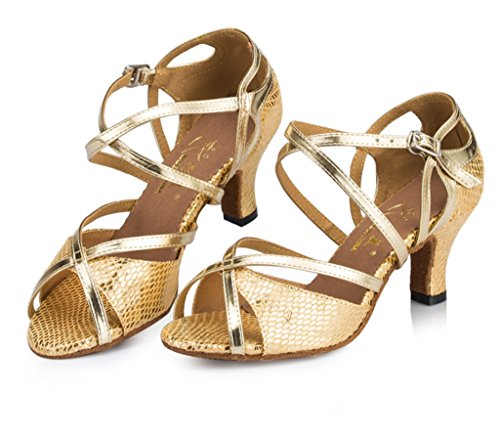CRC Womens Stylish Peep Toe Snakeskin Leatherette Ballroom Morden Salsa Latin Tango Party Wedding Professional Dance Sandals Gold GJluHXfr