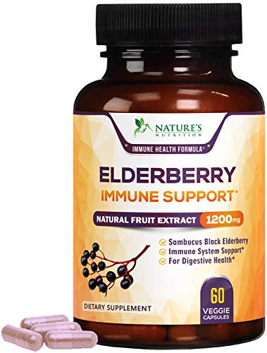 Elderberry Capsules Highly Concentrated1200mg – Immune Support Black Sambucus Nigra Extract Pills – Made in USA – Best…