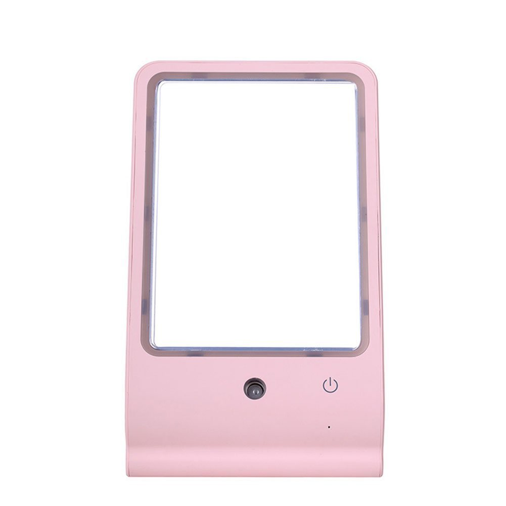 LED Makeup Vanity Mirror For Women | Face Spray Humidifier For Hydrating & Moisturizing Skin & Easy Makeup Application | USB Portable Glass Mirror With Sturdy Base For Home, Work & Travel (Pink)