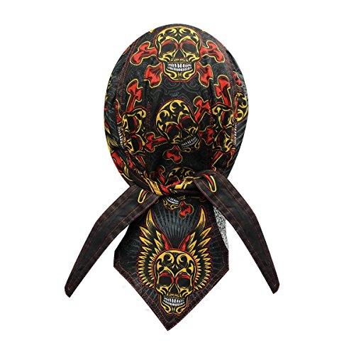 Danbanna Deluxe Tattoo Sugar Wing Skull Durag Head Wrap Biker Skull Cap Helmet - Skull Tattoo Wing