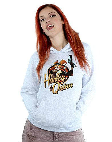 DC Comics Women's Bombshells Harley Quinn Badge Hoodie X-Small Heather Grey