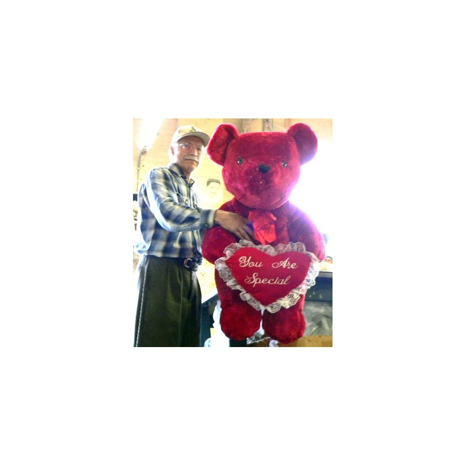 LARGE 36 BIG SOFT RED SPARKLE TEDDY BEAR HOLDING PLUSH RED HEART EMBROIDERED WITH THE WORDS YOU ARE SPECIAL   AMERICAN MADE IN THE USA AMERICA