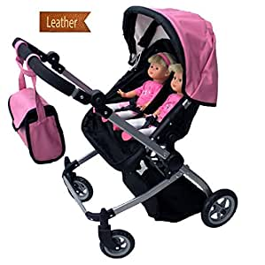 Amazon.com: Babyboo Luxury Leather Look Twin Doll Pram ...