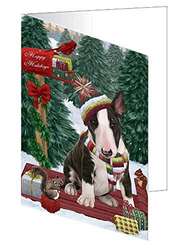 Merry Christmas Woodland Sled Bull Terrier Dog Greeting Card GCD69134 (10)