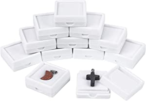 "BENECREAT 24PCS White Gemstone Display Box Jewelry Box Container with Clear Top Lids, 1.57"" x 0.6"", for Gems, Coins,Jewelry Packing"