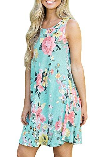 Spadehill Women's Loose Fit Sundress Floral Printed Boho Beach Swing Casual Pocket Sleeveless Cotton Tank Tunic Dress Green L by Spadehill (Image #4)'