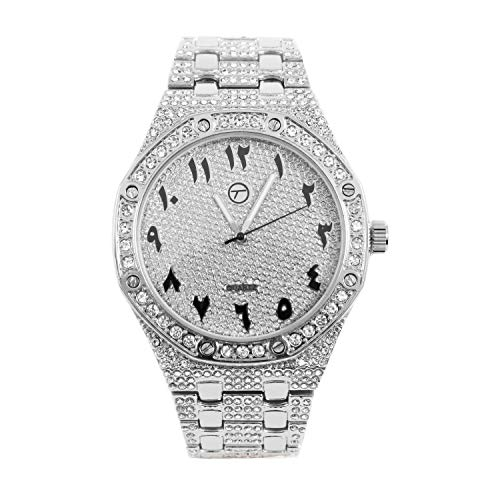 Mens Bling-ed Out 45mm Arabic Dial CZ Watch with Simulated Diamonds - Silver