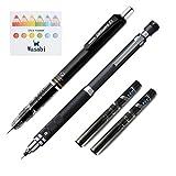Zebra DelGuard 0.5mm Lead Mechanical Pencil,Black Body + Uni Mechanical Pencil Kurutoga Roulette Model, Gun Metallic, 0.5 mm + Kurutoga Pencil Lead 0.5mm HB 20 Leads X 2pack & Sticky note