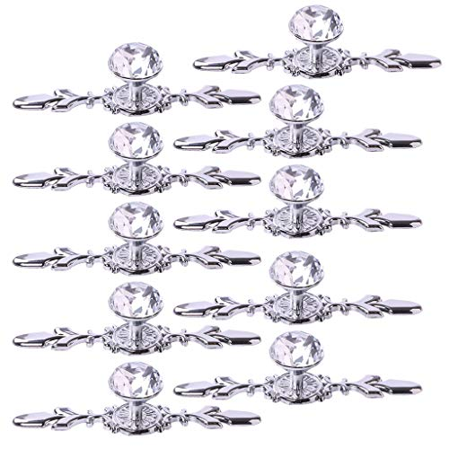 Fvstar 10pcs Crystal Cabinet Handles Dresser Drawer Knobs Diamond Glass Closet Cupboard Handles Wardrobe Pulls with Plate and Screws for Office Kitchen Bedroom Bathroom Furniture