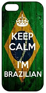 Keep Calm I'm Brazilian, Brazil Flag 1034, iPhone 5 Premium Hard Plastic Case, Cover, Aluminium Layer, Quote, Quotes, Motivational, Inspirational, Theme Shell