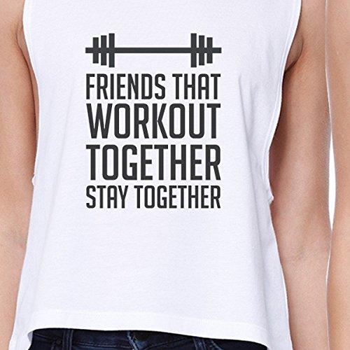 entrenan Amigos Un que estampada de Camiseta tama o juntas Blanco mujeres mangas sin 365 YzSqPx