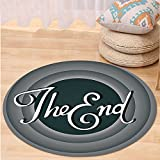 VROSELV Custom carpet1950s Decor Collection Vintage Movie Ending Screen Camera Hollywood Industry Historic Entertainment Film Television Image Bedroom Living Room Dorm Grey Round 47 inches