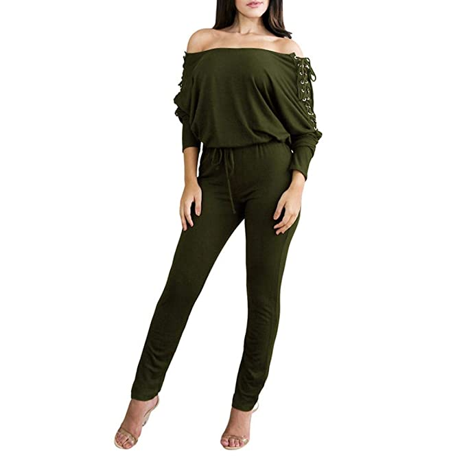 317c4d0f7aea Amazon.com  Jushye Clearance!Women s Off Shoulder Jumpsuit