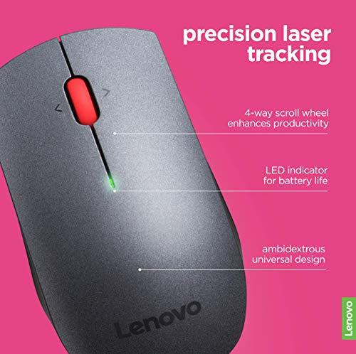 Lenovo 700 Wireless Laser Mouse, Black, 1600 dpi, 2.4 GHz wireless via USB, 4-way scroll wheel, Full-size ergonomic…