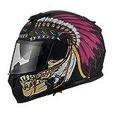 Triangle Motorcycle Street Bike Dual Visor Helmets DOT Approved (Large, Indian Purple)