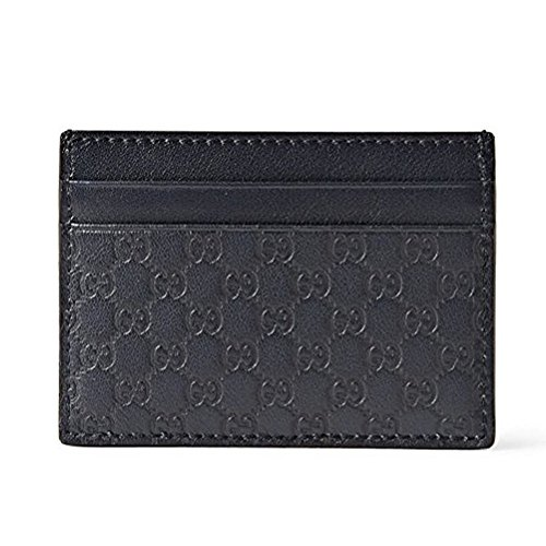 (Gucci Microguccissima Leather Card Case Wallet, Blue 262837)