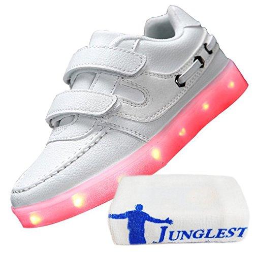 (Present:kleines Handtuch)JUNGLEST® Unisex Junge Mädchen Colorful Farbe LED Leuchtend Aufladen USB Kinderschuhe Paare Schuhe Herbst und Winter Sport schuhe Frei Weiß