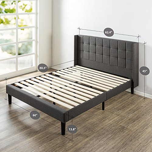 Zinus Dori Upholstered Square Stitched Wingback Platform Bed / Mattress Foundation / Easy Assembly / Strong Wood Slat Support, Queen