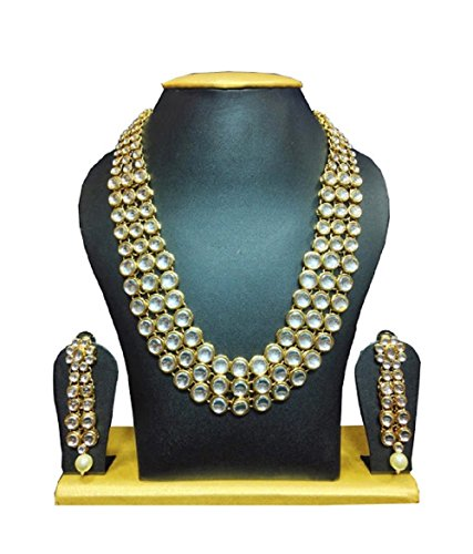 Designer Inspired Necklace Set (Elegant Indian Anushka Sharma Inspired Party Wear Bollywood Designer Kundan Necklace Set)