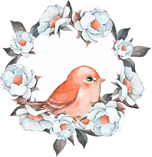 Pretty Spring Peach Bird with Flower Wreath Watercolor Art Vinyl Decal Sticker (4