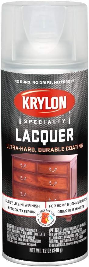 Krylon K07032 7032 Lacquer Spray, 12 Oz, Aerosol Can, 20-25 Sq-Ft Coverage, Gloss, -29 Deg C, 7 Ph, Clear