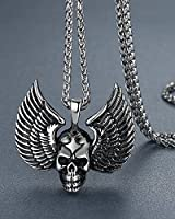 "Men's Stainless Steel Gothic Wing Skull Biker Pendant Necklace, 24"" Link Chain, aap026"