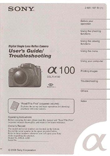 sony a100 dslr original instruction manual sonycorp amazon com books rh amazon com sony a100 user manual download sony alpha 100 user manual