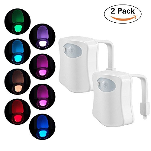 2-Pack Original Toilet Night Light Gadget, Fun Bathroom Lighting Add on Glow Bowl Seat, Motion Sensor Activated LED 9 Color Modes - Weird Novelty Funny Birthday Gag Gifts for Adults, Kids & Toddlers (Fan Gag)