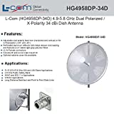 L-Com (HG4958DP-34D) 4.9-5.8 GHz 34 dBi Dual Polarity Dish Antenna