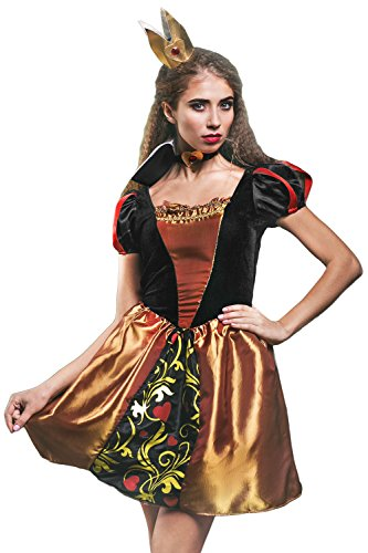 Adult Women Queen of Hearts Costume Cosplay Role Play Wonderland Monarch Dress Up (Small/Medium, Black, Gold, Red, Yellow, (Sexy Monarch Fairy Costumes)