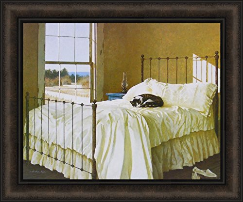 Home Cabin Décor Lazy Afternoon by Zhen-Huan Lu 20x24 Cat Nap Sleeping Kitty Bed Window Framed Art Print Picture ()