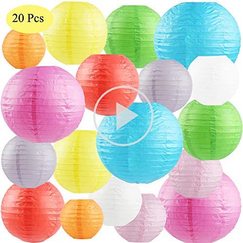 SdeNow 20 Pcs Paper Lanterns (Multicolor,Size of 4
