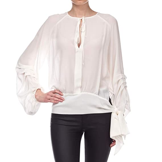 bf9aad2e68f2b Image Unavailable. Image not available for. Colour  Pinko Women s  1G13f47050z05 White Silk Blouse