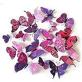 【Black Friday Promotion】upspirit 12 3D Papillon artificielle Aimants pour Réfrigérateur magnétique autocollants, rose