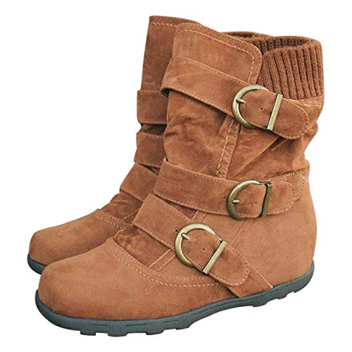 Susanny Ankle Boots for Women Warm Winter Zip Suede Booties Buckle Strappy Shoes Round Toe Brown 8 B (M) US