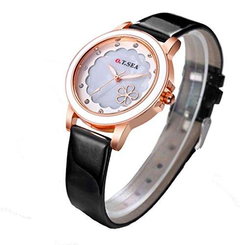 (Hunputa Fashion Women Leather Band Alloy Dial Quartz Analog Rhinestones Flowers Bracelet Wrist Watch Gift (Black))