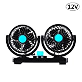 SHZONS Car Cooling Fan, Electric 12V/24V 360 Degree Rotatable 2 Speed Dual Head Car Auto Cooling Fan,Air Circulator Fan for Van SUV RV Boat Auto Vehicles Golf Cart