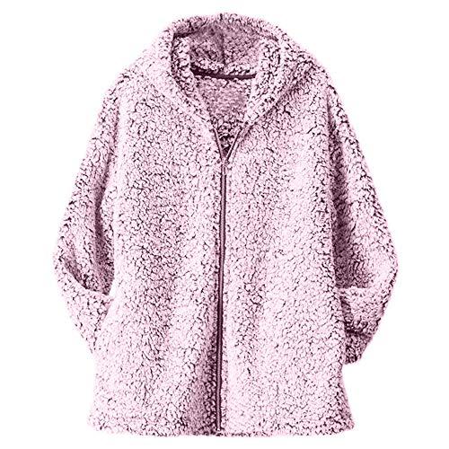 Casual Parka Outwear Overcoat Zipper Faux Fur Coat Women Loose Solid Pink with Outercoat Jacket Pullover Warm Casual Pocket vpass Winter IX6z6Y