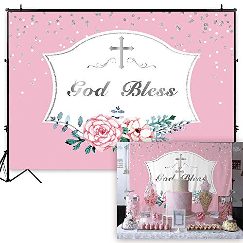 Funnytree 7x5ft Durable Fabric First Holy Communion Baptism Backdrop No Wrinkles Pink Girls God Bless Floral Photography Background Christening Party Flower Decoration Photo Banner Photobooth Props