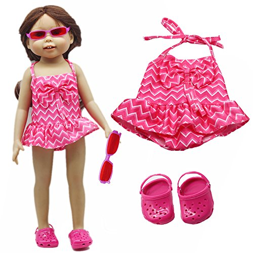 45cm 18inch Girl Doll Bikini summer Swimming wear with Sunglasses ,shoes also fit for 43cm Baby born zapf dolls swim wearing