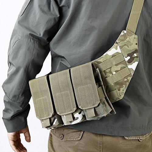 OneTigris Tactical Molle Shoulder Triple Magazine Pouch Crossbody Sling Bag (Multicam)