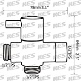 """KES PV4-2 BRASS 3-Way Diverter Valve 3/4"""" and 1/2"""" IPS Shower System Replacement Part, Brushed Nickel"""
