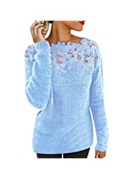 iYYVV Womens Sexy Floral Fluffy Hollow Jumper Tops Ladies Long Sleeve Pullover Shirt
