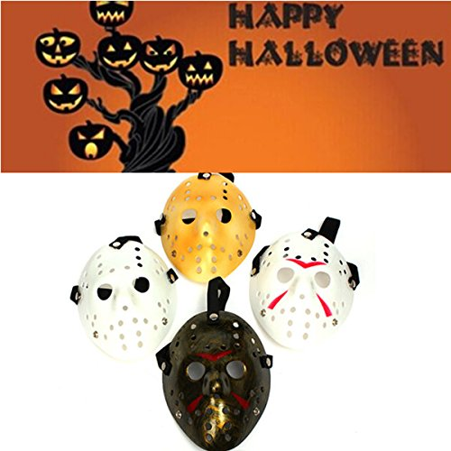 Amazon.com: Winnerbe Old Jason Voorhees Halloween Mask Horror Hockey Mask Mask Halloween Costume Prop White: Home & Kitchen