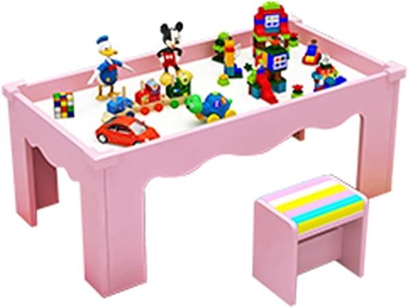 Juegos de mesas y sillas Mesa de Juguete para niños 1-2-3-6 años Mesa de construcción de Juegos Mesa de Comedor y sillas multifunción para el hogar Mesa de Estudio de educación temprana:
