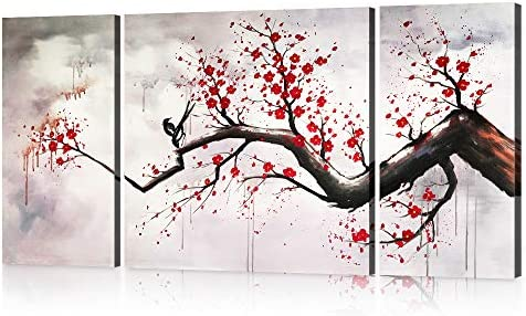 Yatsen Bridge Modern Chinese Style Cherry Blossom The Plum Blossom Tree Wall Art Picture 3pcs Oil Paintings on Canvas Handmade for Living Room Home Decor Framed Stretched Gallery Canvas Wrap Artwork